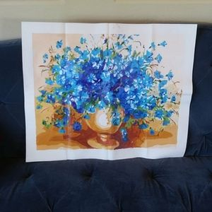 Other - Blue flower acrylic painting on canvas